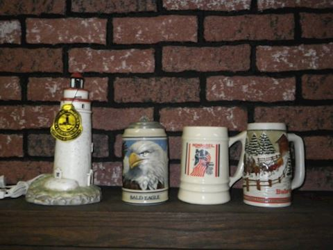 3 Steins and Lighthouse Lamp