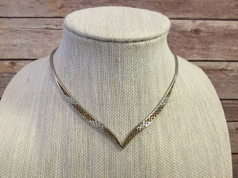 Sterling Silver V Neck necklace two tone