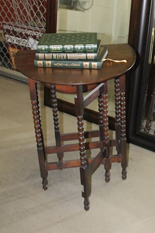 Dark Wood Drop Leaf Side Table