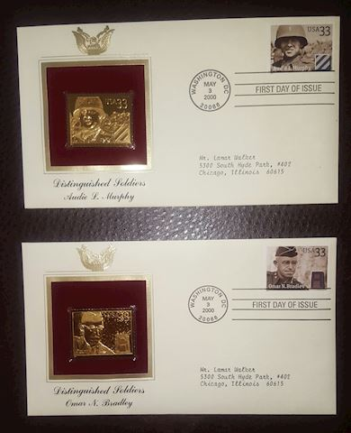 2-22K Gold Replica Stamp Soldiers First Day Covers