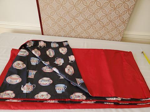 Red/ black silk tea pattern silk & cotton textile