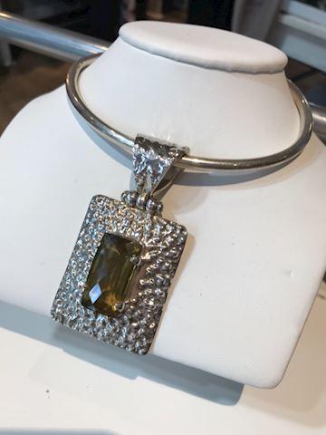 Lemon Topaz sterling silver pendant w/ necklace