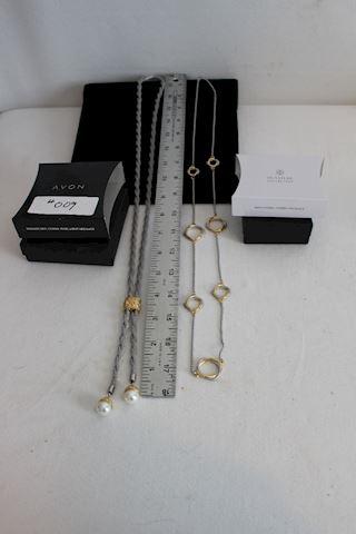 #009 New Avon Long  Fashion Necklaces 2 Silvertone