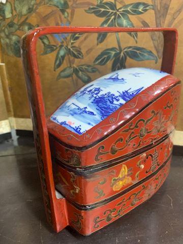 Antique lacquer  porcelain top Box