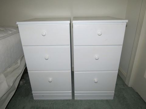 Pair of Matching Pine Painted White Side Tables