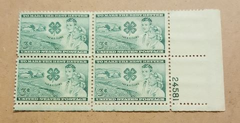 Plate Block of 4- 4-H Club 3 Cent Stamps MNH