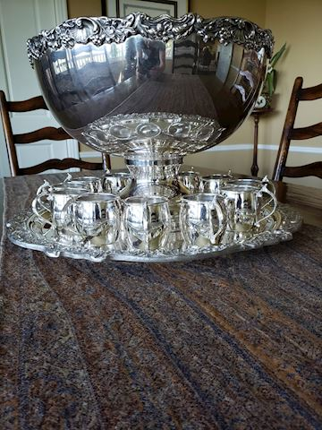 Rogers silver plated punch bowl set
