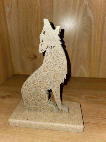 Cut Marble Coyote Figurine
