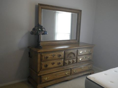 Dresser with Attached Mirror