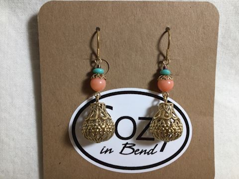 14 KT gf earrings angel coral turquoise #80-123