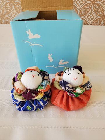 2 Japanese beanbag silk dolls