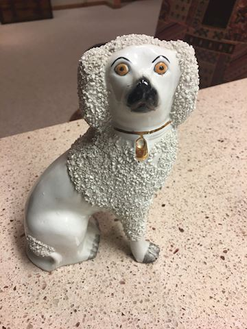 Staffordshire Vintage confetti pottery poodle dog