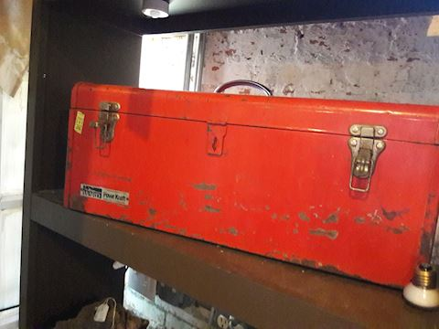 Large Red Vintage Metal Toolbox