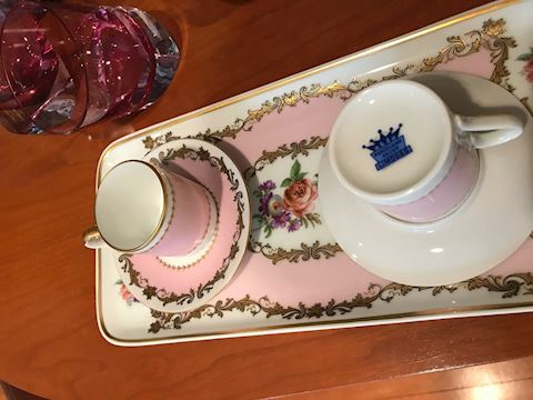 limogee serving plate and  two cup and saucer