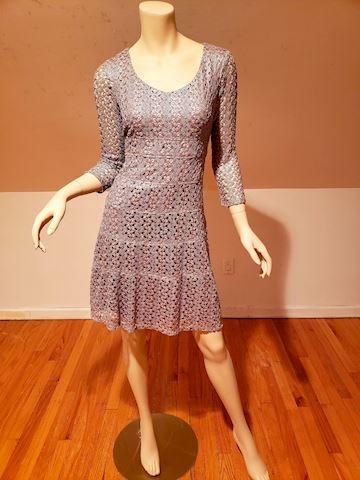 Anne klein Silver metallic macrame dress wiggle 2P