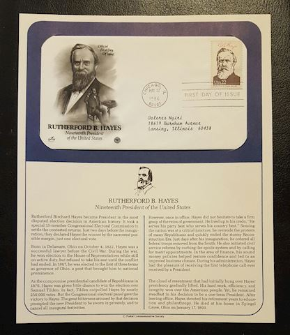 Rutherford B. Hayes 1986 First Day Cover