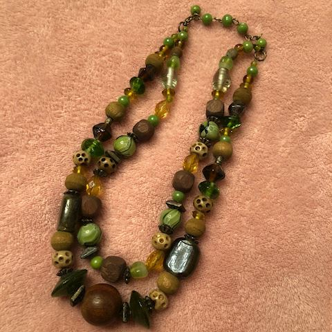 Double strand beaded green necklace