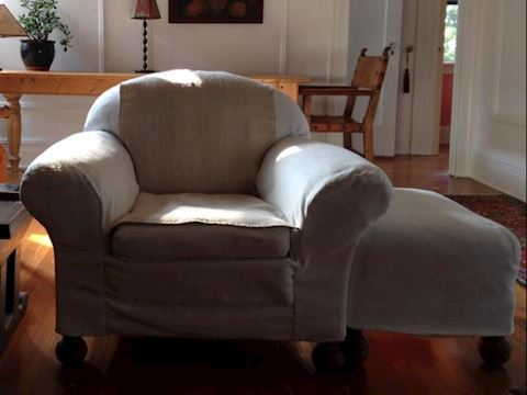 OVERSTUFFED CHAIR AND OTTOMAN