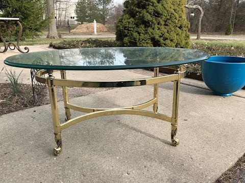 Solid Brass Glass Coffee Table
