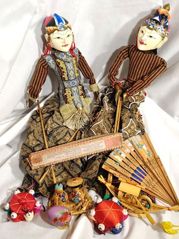 Antique Chinese Puppets Hand Painted
