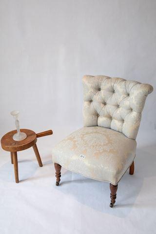 Lot 0014 Mahogany chair and milking stool