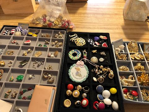 Trays of Vintage costume jewelry