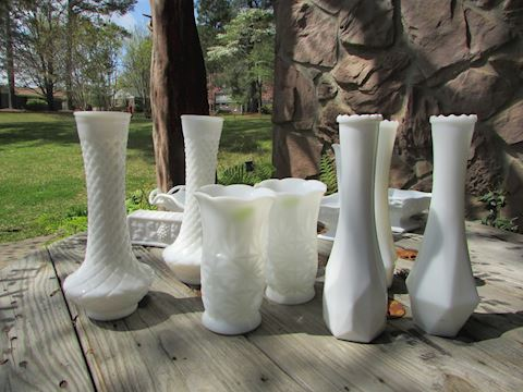 Vintage Milk Glass Vase Assortment Lot, 13 pieces
