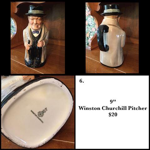"Vintage 9"" Winston Churchill Pitcher"