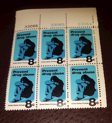 1971 Plate Block of 6-8¢ Prevent Drug Abuse Stamos