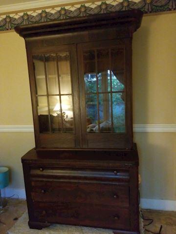 Antique burl Walnut Plantation Secretary Desk