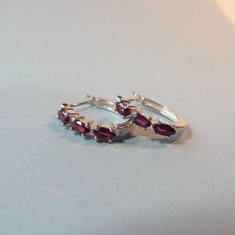 Small Sterling Hoop Earrings w Amethyst Gemstones