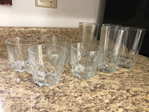 Set of 4 tall and 4 short glass cups (Arcoroc)
