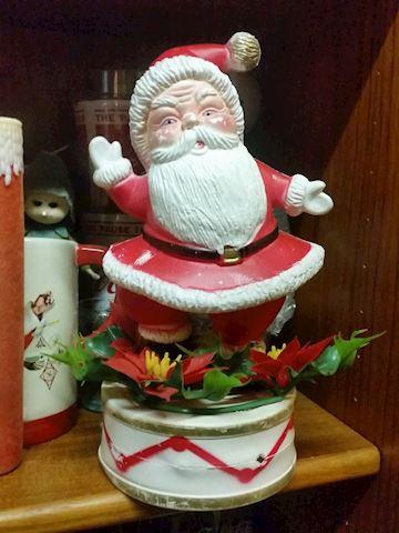 plastic blow-mold Santa centerpiece vintage