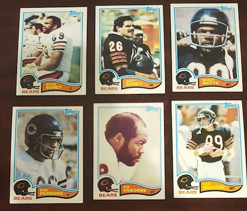 Collection of 6- 1982 Chicago Bears Football Cards
