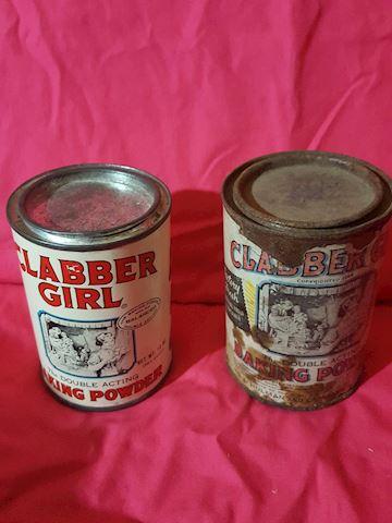 2 Vintage Clabber Girl metal tins