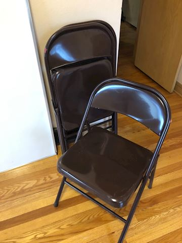 Lot of three brown folding Chairs