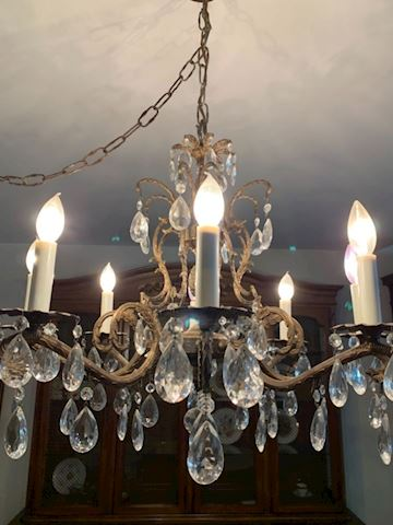 Antique Danielle lauren brass crystal chandelier