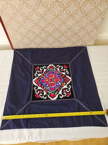 Multi colored applique Japanese textile