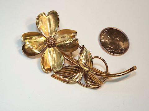 1960s HSB Designer Dogwood Flower Brooch