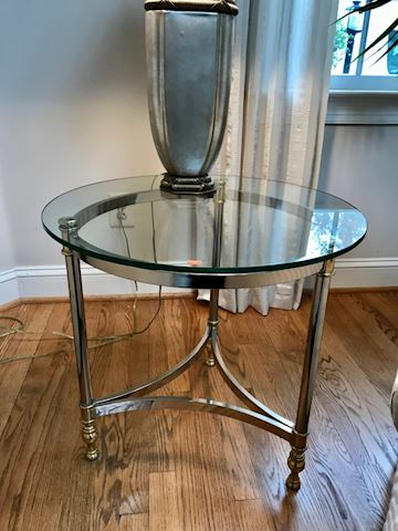 Side table with glass top