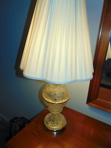 Cut Crystal Lamp with Brass