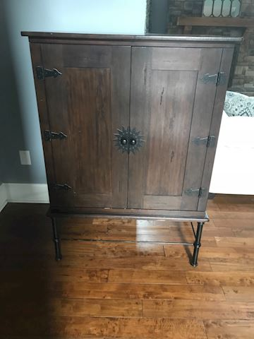 Pier 1 wooden tv cabinet with metal legs