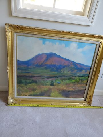 Original mountain oil painting in gold frame