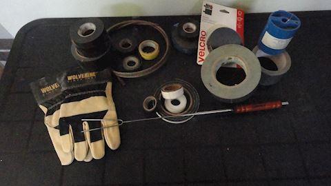 13 pc tape, work gloves, velcro roll etc Lot #115