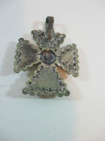 "Large Rhinestone Cross Pendant From the 50""s"
