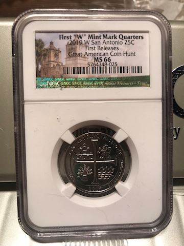 2019 W NGC MS66 FIRST RELEASES TEXAS SAN ANTONIO M