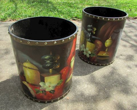 Two Studded Cylinder Decorative Canisters