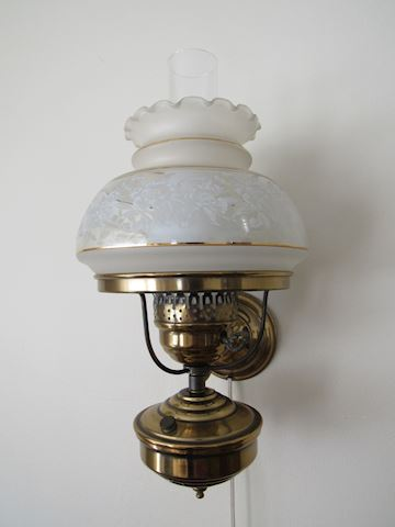 Hurricane Lamp Wall Sconce Frosted White Shade