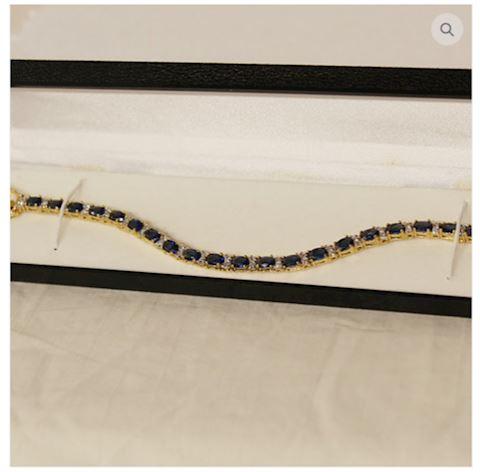Sapphire Bracelet 8.65 ct 14K Gold w/ Accents