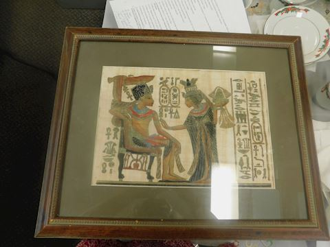 Hand Painted Egyptian Painting On PAPYRUS framed